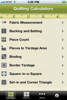 Found an app for you guys to get! Quilting Calculators Apps @Maria Canavello Mrasek Canavello Mrasek Zeller @Sherri Levek Levek Zeller @Christina & A Zeller @Anna Totten Totten Zeller http://pinterestinglady.com/?p=615