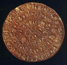 The Phaistos Disk was found in the Minoan Palace of Phaistos on Crete in 1908 and is thought to date from the 17th century BC. On it is inscribed an unknown script and there are many theories about the language it represents and what it means. No other evidence of this script has been found.