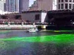 """About St. Patrick.  -Chicago, IL holds one of the coolest St. Patrick Day Celebrations in the US by dying the Chicago River green immediately before their St. Patrick's Day Parade. The """"dyers"""" of the river pour in a seemingly orange dye into the river which immediately turns green thanks to the help of leprechauns. Using 40-50 lbs. of food coloring, the river stays green for just a few hours. Two parades take place in Chicago which combined draw in about 600,000+ people."""