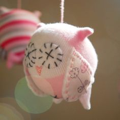 Owl Mobile made from baby socks!!!!