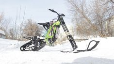 Snowbike kit for the Surron X electric motorcycle from SNOWBIKE LLC. No equivalent in the world. Easy to install on the Surron family of motorcycles. No special skills or tools required. The kit turns the Surron into a lightweight snowmobile. You will be able to use your Surron in winter on snow up to 50 cm deep. Get new emotions from your bike. Bike, World, Motorcycles, Electric, Snow, Deep, Winter, Easy, Bicycle