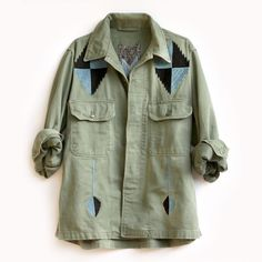 Inspired by elements of 1930's Chimayo coats, The Pray For Rain army jacket  features chain stich embroidery in blue and navy on an authentic vintage  cotton army jacket.  CONTENT + CARE - Cotton - Dry Clean - Made in the USA  SIZE + FIT - Slouchy Fit - Sized 1 / 2 / 3 Visit our Fit Guide to determine your perfect size.