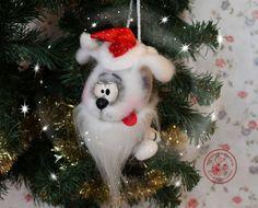 Купить Собака валяная Шарик Игрушка из шерсти Елочная игрушка в интернет магазине на Ярмарке Мастеров