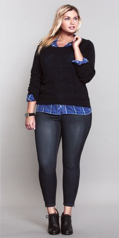 Bright plaid shirt layered under a cute sweater. Love. #ShopByOutfit