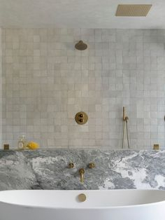 perfectly imperfect, clé zellige weathered white showing it's perfect variation on the shower walls. zellige is one of the best tiles for water applications. shop now at clé tile. Home Decor Items, Home Decor Accessories, Cheap Home Decor, Accessories Online, Bathroom Trends, Bathroom Interior, Interior Office, Interior Livingroom, White Bathroom