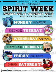 spirit week                                                       …                                                                                                                                                                                 More Spirt Week Ideas, Spirit Week Themes, Spirit Day Ideas, Student Gov, Student Council, Homecoming Themes, Homecoming Spirit Week, Catholic Schools Week, School Events