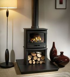 Tiger Wood Burning / Multifuel Stove with Europa Log Stand Wood Burner Fireplace, Fireplace Redo, Fireplace Ideas, Log Burner Living Room, Conservatory Dining Room, Solid Fuel Stove, Stoves For Sale, Electric Stove, Gas Fires