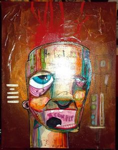 """i can fly"" anthead 11X14 canvas outsider folk art lowbrow graffiti pop street #OutsiderArt"