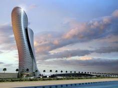 Capital Gate Building, the most beautiful work of architecture ever. Period.  (So said Misha whose photo I am repinning.)