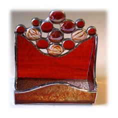 Business Card Holder Handmade Stained Glass Red  £14.50