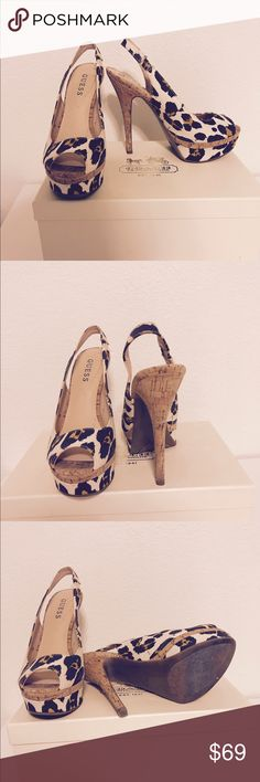 GUESS Leopard Print Slingback Peeptoe Heels GUESS HEELS Gorgeous! A beautiful classy print of leopard print - with the combination of all the right colors - these sexy heels are a must have! Size 6 and a Beautiful corkscrew heel of about 3 1/2 inches 😍😍😍 Worn very lightly only one time! Guess Shoes Heels