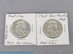 Two 1963 Ben Franklin silver half Dollars - proof like. Bids close Thurs, 8 Sept from 11am ET. http://bid.cannonsauctions.com/cgi-bin/mnlist.cgi?redbird55/1700/1