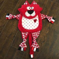 Cat Tag Blanket, Red Kitty Lovey, Woobie, Minky Blanket, Baby, Toddler Blanket Ribbon Cat Toy, Crib Sensory Toy, Blanket Animal, Tag Blanket