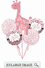 Black, pink and white Sweet Safari Girl Decorative Balloon Bouquet contains 5 balloons