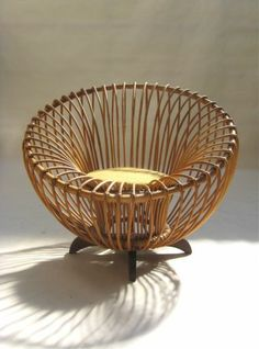 Very Rare Italian Rattan/Wood Easy Chair by Franco Albini 1950,s eames knoll era | eBay