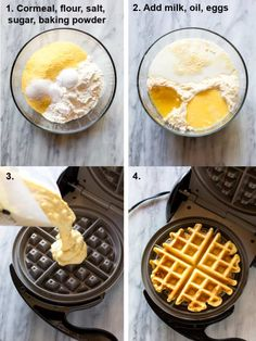 The step-by-step process for making cornbread waffles including the dry ingredients in a bowl, the wet ingredients added, the batter being poured into the waffle iron, and the final cooked waffle resting in the waffle iron. Cornbread Waffles, Savory Waffles, Easy Dinner Recipes, Breakfast Recipes, Easy Meals, Mexican Breakfast, Pancake Recipes, Breakfast Sandwiches, Breakfast Pizza