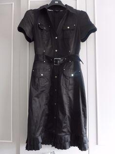 julien macdonald office black midi dress satin pencil shirt pleated safari 12   eBay