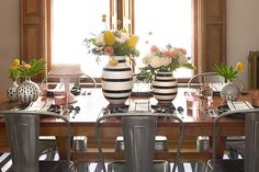 Dining Room Table Setting with Black and White Omaggio Vases from Unison Home Elegant Table Settings, Fall Table Settings, Thanksgiving Table Settings, Holiday Tables, Place Settings, Pink Walls, Metal Chairs, Dining Room Table, Tablescapes