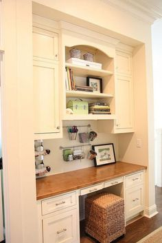 small ottoman under kitchen office nook