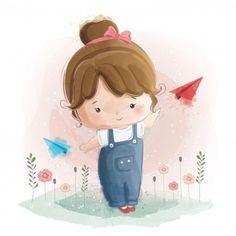 Linda garota brincando com papel plano V. Cartoon Kids, Girl Cartoon, Cute Cartoon, Clipart Baby, Cute Little Girls, Cute Kids, Cute Images, Cute Pictures, Adobe Illustrator