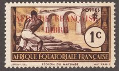 """French Equatorial Africa 1940-41 1c brown & yellow """"Logging on Loeme River"""" with carmine overprint"""