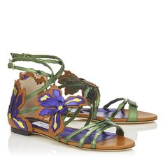 Canyon Mix Mirror Leather and Vaccetta Sandals | Lolita Flat | Spring Summer 17 | JIMMY CHOO