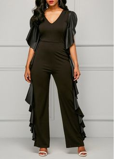 15a3a73b245 Zipper Back V Neck Black Ruffle Jumpsuit on sale only US 38.69 now