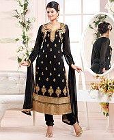 sayali latest black gold Straightfit salwar suit