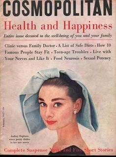Cosmopolitan magazine, FEBRUARY 1957 Audrey Hepburn on cover