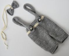 Knit Newborn Pants with suspenders & Bow by LovelyBabyPhotoProps, $34.00