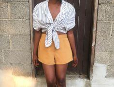 Striped blouse & mustard shorts