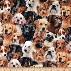 REALISTIC DOG PILES PUPPY DOGS BLK WHITE GRAY COTTON FABRIC BTHY