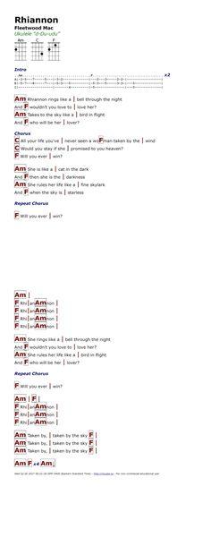 Rhiannon - Fleetwood mac ukulele chords from http://www.ukulele-tabs ...