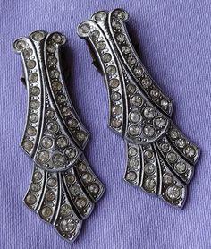 Vintage Art Deco Diamante Stone Dress/Fur Clips (Pair)