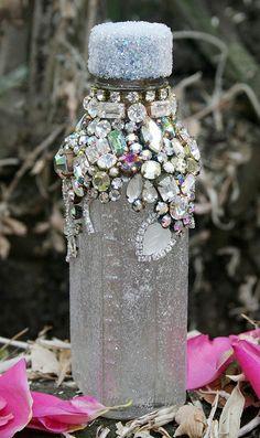 Bejewelled Rhinestones Vintage Bottle   Winter