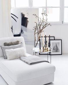 Home Decoration Stores Near Me Product Decor Collection, Scandinavian Home, Monochrome Living Room, Monochrome Interior, Interior, Loft Design, Black Headboard, Accent Pillows Living Room, White Interior