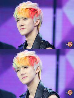 Sehun's rainbow hair :') <3