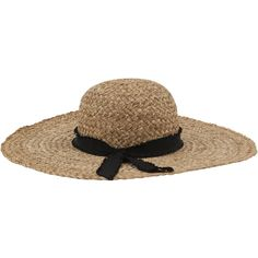Inverni Indi Natural Straw Hat With Black Ribbon ($65) ❤ liked on Polyvore featuring accessories, hats, tan, brimmed hat, ribbon hat, sun hat, wide brim straw hat and band hats