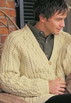 Aran cardigan classic fit and style.