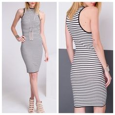 Black & White Mock Neck Midi Dress Loving this basic striped dress! Thick knotted material & such a perfect piece to dress up or down! 60% Polyester 30% Nylon 10% Spandex! Available in S M L Boutique Dresses Midi