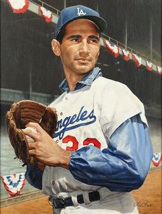 #DODGERnation #BrooklynDodgers EBBETS Field CHAVEZ Ravine  #LADodgers Portrait of Sandy Koufax by artist Ron Stark