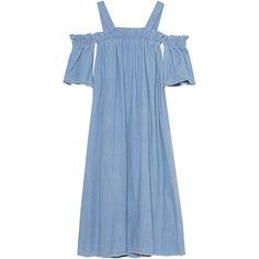 SJYP Denim Off Shoulder Light Blue // Flared denim dress (€339) ❤ liked on Polyvore featuring dresses, off the shoulder maxi dress, blue maxi dress, blue midi dress, denim dress and light blue maxi dress