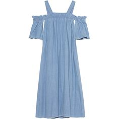 SJYP Denim Off Shoulder Light Blue // Flared denim dress (€339) ❤ liked on Polyvore featuring dresses, off the shoulder maxi dress, blue maxi dress, blue midi dress, denim dress and light blue maxi dress