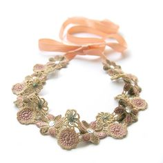 Light Brown Hippie Embroidery Flower Lace Headband by curtainroad