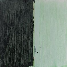 """Pat Steir, """"Black & White Over Green,"""" 2012, oil on canvas, 36"""" x 36"""""""