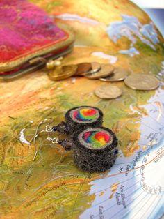 Rainbow Felt earrings with purple by ZanieCraftsFeltedArt on Etsy
