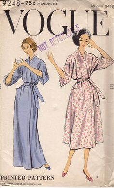FACTORY FOLDED 1957 Misses' Robe Vogue 9248 Size Medium Bust 34-36