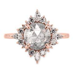 ($5476) Salt & Pepper Diamond Cosette Halo Engagement Ring, 14k Rose Gold