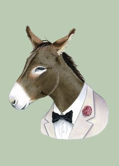 Donkey art print by Ryan Berkley 5x7 by berkleyillustration, $10.00