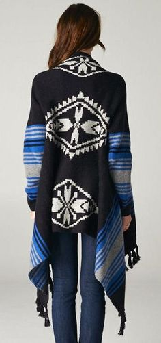 Tribal Drape Cardigan in Blue ♥